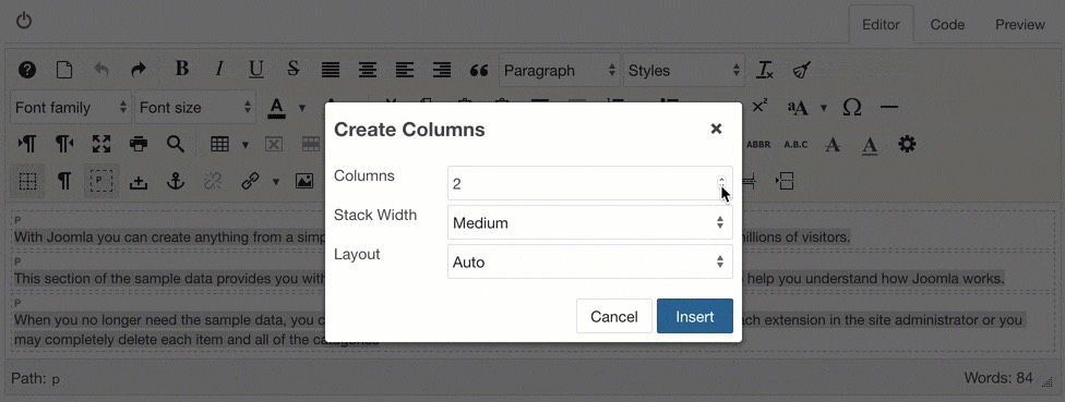 Create columns with a selection and partition content