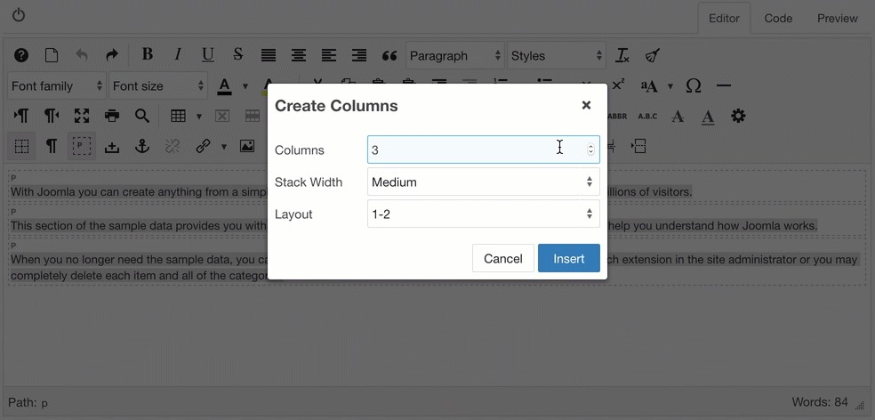 Create columns from a selection with a 1-2 layout