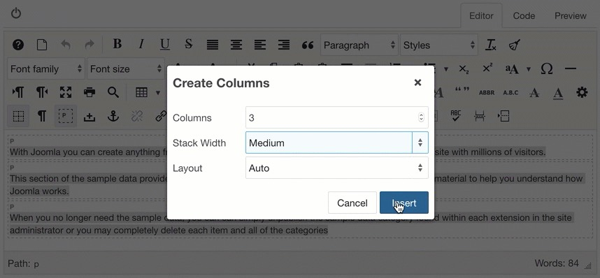 Stack columns at medium width