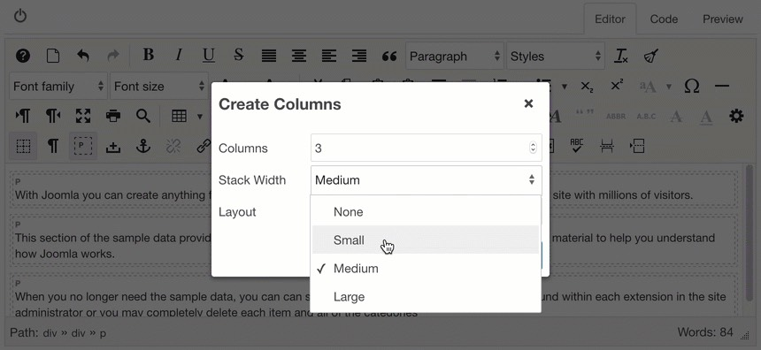 Stack columns at width small
