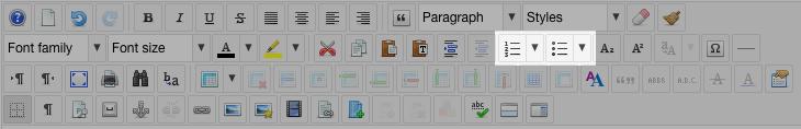 editor list buttons