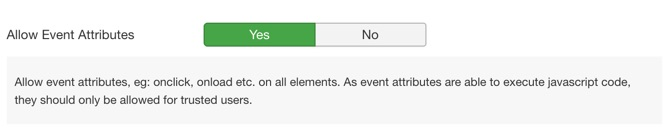 Enable the Allow Event Attributes option