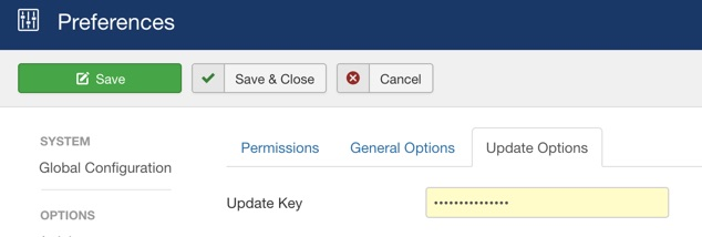 Updates Options - Joomla 3