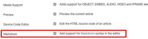 Enable Markdown