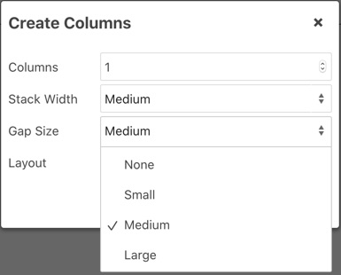 Set the Gap Size in columns
