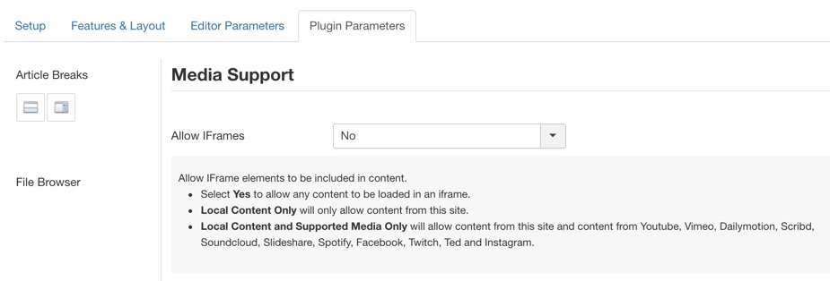 A new parameter option for setting IFrame url restrictions