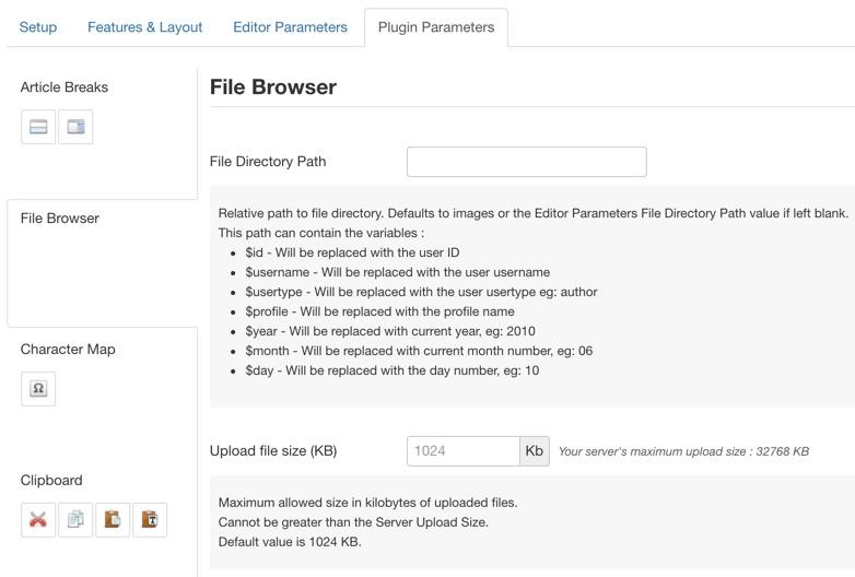 Parameter descriptions shoen in inline help boxes