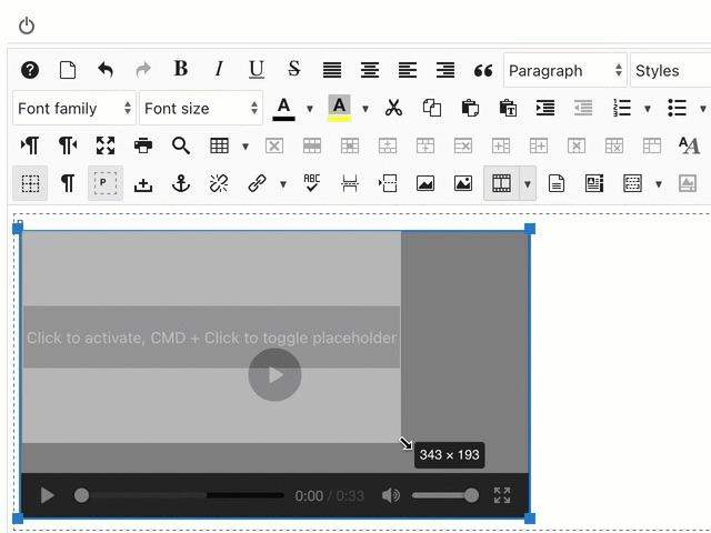 Resizing a Media Preview element