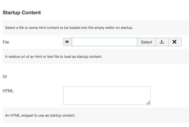 Startup content options for the editor