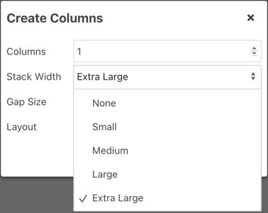 Extra Large Stack Width in Columns